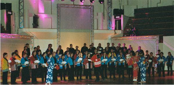 Een van de japanse volksliederen op het podium tijdens de wedstrijd