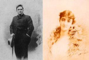 Jeugdfoto's van twee sterke figuren die onlangs het koor verlieten: Enrico Caruso (°1873) en Emma Calvé (°1858)
