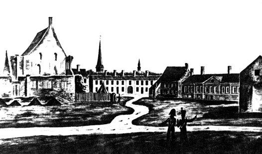 De restanten van het Spaans kasteel, met rechts het Hoog Huis, op een aquarel van Jan Joseph Wynants, rond 1820