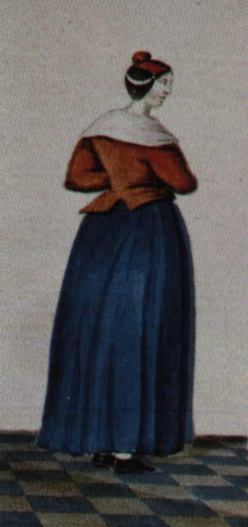 """Een """"rodelijveke"""" (weesmeisje) in haar uniform"""