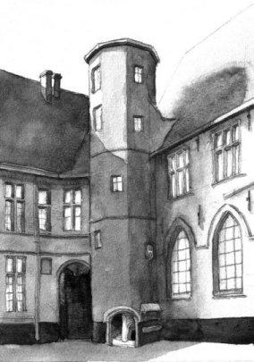 De traptoren op de eerste pandhof van het klooster, volgens Pascale Vervenne