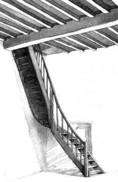 De trap in het repetitielokaal, volgens Pascale Vervenne