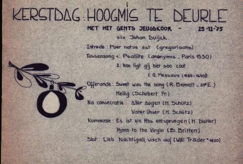 programma voor Kerstmis in Deurle in 1975