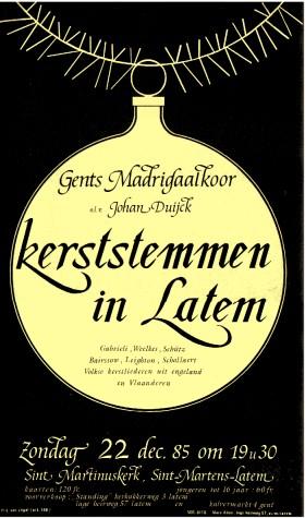 de affiche ontworpen door Hendrik Colpaert voor een GMK-kerstconcert in 1985